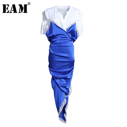 [EAM] Women Blue Irregular Split Joint Temparment Dress New V-Neck Short Sleeve Loose Fit Fashion Tide Spring Summer 2021 1U315