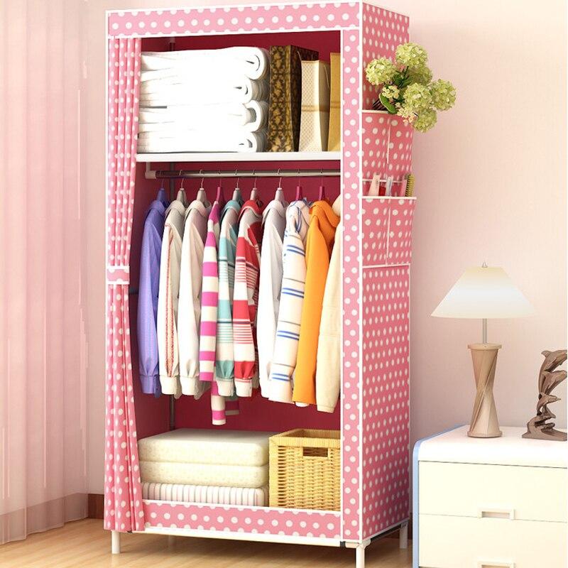 Минималистичный современный нетканый Фабричный шкаф для хранения, детский складной стальной одиночный гардероб мебель для спальни