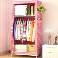 minimalist modern non woven fabric closet baby storage cabinet folding steel single wardrobe bedroom furniture
