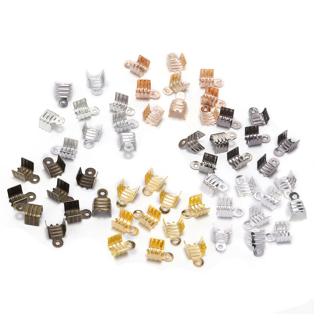 200pcs Gold Silve Small Cord End Tip Fold Over Three-wire Clasp Crimp Bead Cord Buckle Connector For Jewelry Making Supplies DIY