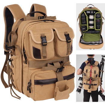 Large Capacity Camera Canvas Travel Backpack Soft Shoulders DSLR Waterproof Bag Video Photo Tripod Case for Canon Nikon Sony SLR