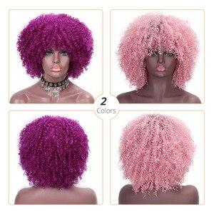 Image 3 - Doris 아름다움 보라색 아프리카 계 미국인 여성을위한 아프리카 곱슬 가발 12 합성 짧은 가발 자연 머리 bangs ombre 핑크 마젠타