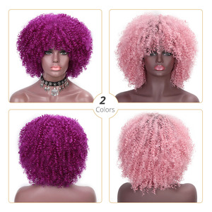 Image 3 - Doris beauty Purple Afro Curly Wigs for African American Women 12 Synthetic Short Wig Natural Hair Bangs Ombre Pink Magenta