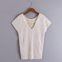 С v-образным вырезом, футболка с короткими рукавами Топ яркого цвета с вырезом на шнуровке футболка Для женщин футболки, топы