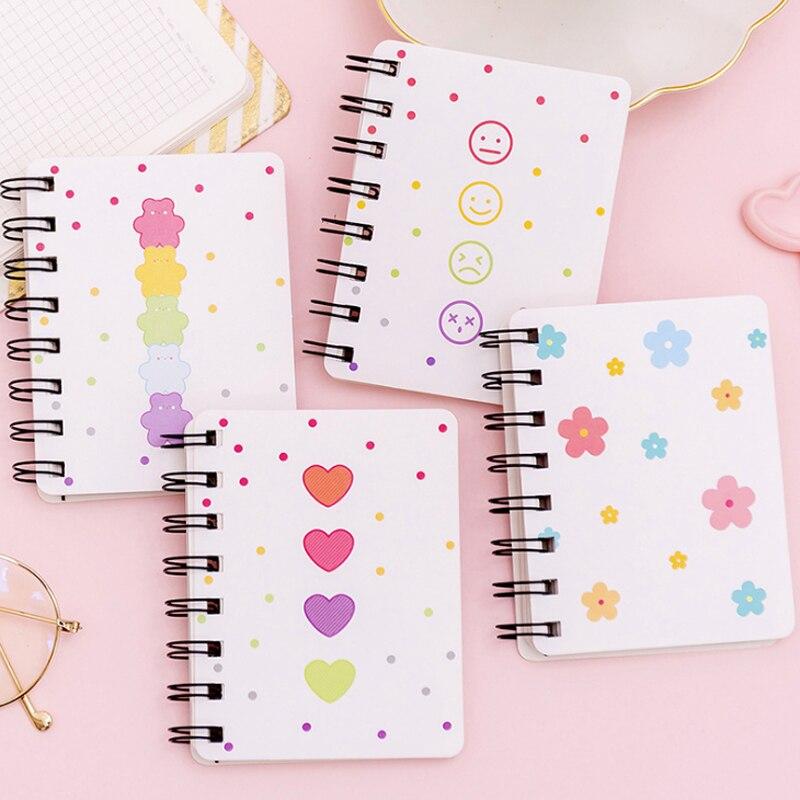 1 pièces/lot mignon fleur ours Expression bobine Portable poche A7 spécification bloc-notes dessin peinture papier bloc-notes