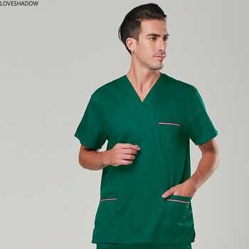 [TOP] Men\'s Short Sleeve Scrub Top V Neck COTTON Comfy Medical Uniforms Nursing Uniform Scrubs Doctor Hospital Workwear