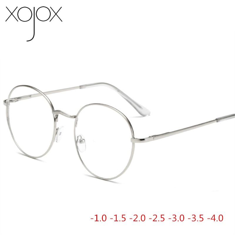 XojoX Metal Round Eye Glasses Men Women Myopia Eyeglasses Finished Glasses Students Short Sight Eyewear -1 -1.5 -2 -2.5 -3 -3.5