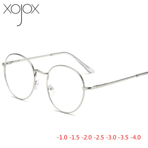 XojoX Metal Round Eye Glasses Men Women Myopia Eyeglasses Finished Glasses Students Short Sight Eyewear -1 -1.5 -2 -2.5 -3 -3.5(China)
