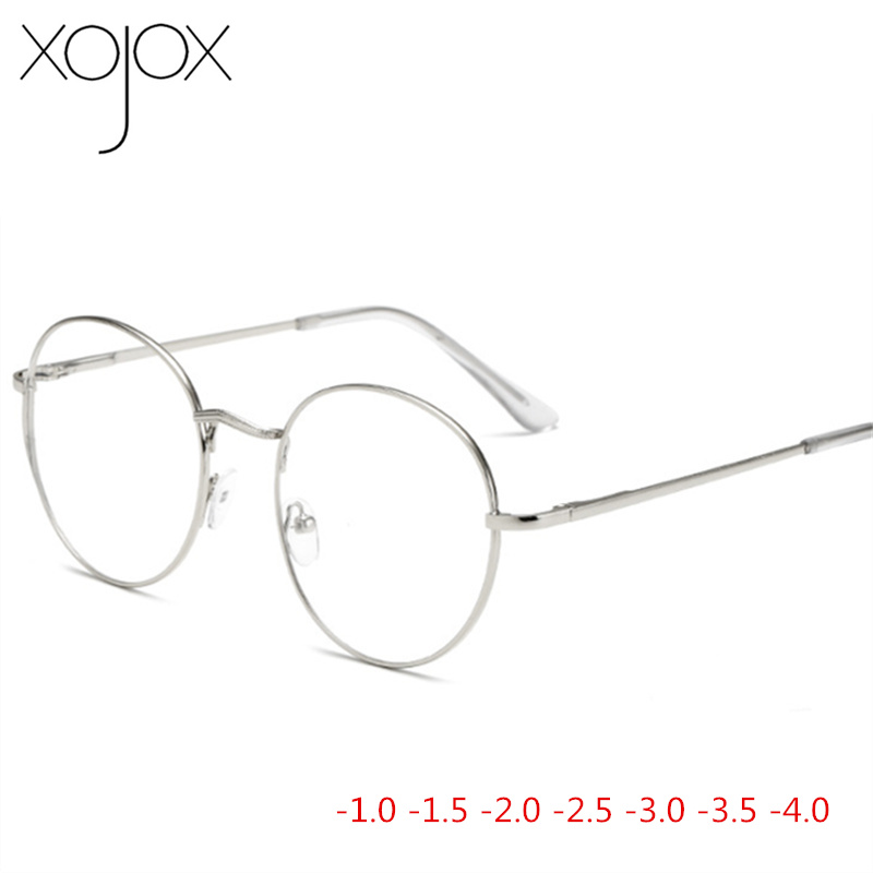 XojoX Metal Round Eye <font><b>Glasses</b></font> Men Women Myopia Eyeglasses Finished <font><b>Glasses</b></font> Students Short Sight Eyewear -<font><b>1</b></font> -<font><b>1</b></font>.<font><b>5</b></font> -2 -2.<font><b>5</b></font> -3 -3.<font><b>5</b></font> image