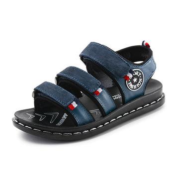 Letnie sandały dziecięce dla chłopców dziecięce sandały dla chłopców maluch szerokie sandały dla chłopców gumowe płaskie z miękkim skórzanym haczykiem i pętelką tanie i dobre opinie LLTTDD RUBBER Miękka skóra Płaskie Obcasy Hook loop Pasuje prawda na wymiar weź swój normalny rozmiar 10 t 11 t