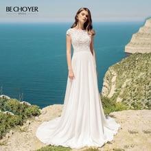 BECHOYER Elegant Lace A Line Wedding Dress 2020 Boho O Neck Cap Sleeve Train Illusion Crystal Belt Bride Vestido de Noiva AB41
