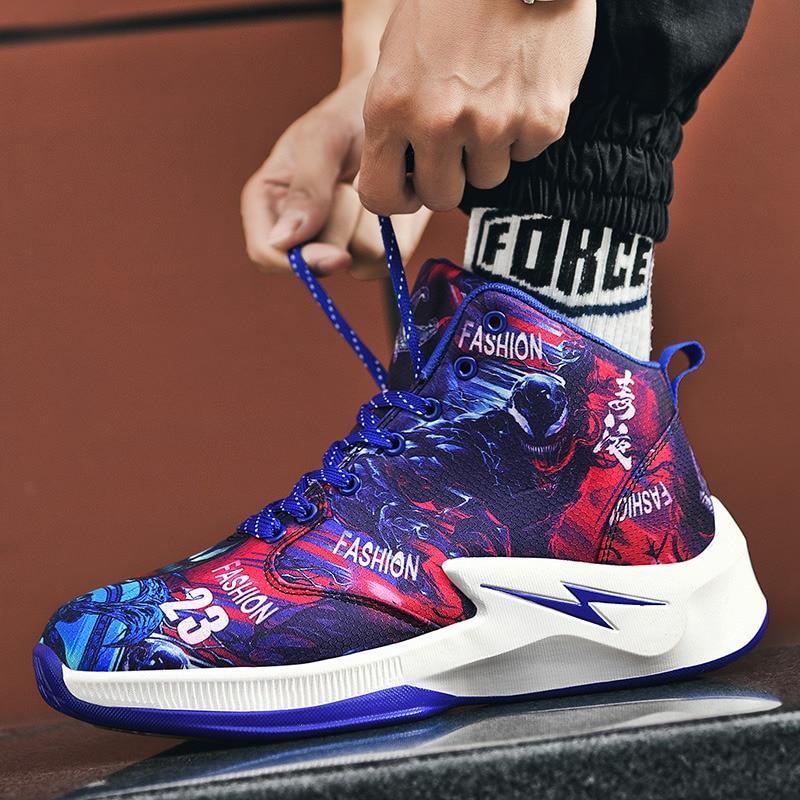 New Design Fashion Cartoon Painting Men High top Sneakers Basketball Superstar Platform Hip hop Sneakers Shoes Men Sports Shoes