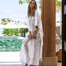 2020 Women Chiffon Kimono Cover Up Beach Dress Cardigan Bikini Wrap Lace White Long Beachwear Dress Female saida de praia(China)