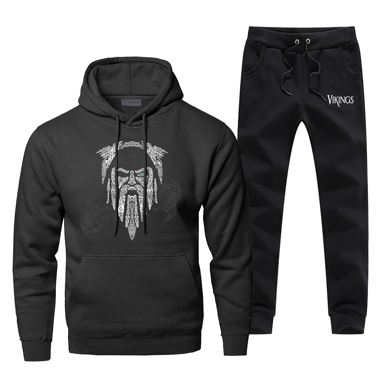 Odin Viking Mens Hoodies Sets Two Piece Pant Scandinavian Runes Athelstan Hoodie Sweatshirt Sweatpants Streetwear Sweatshirts