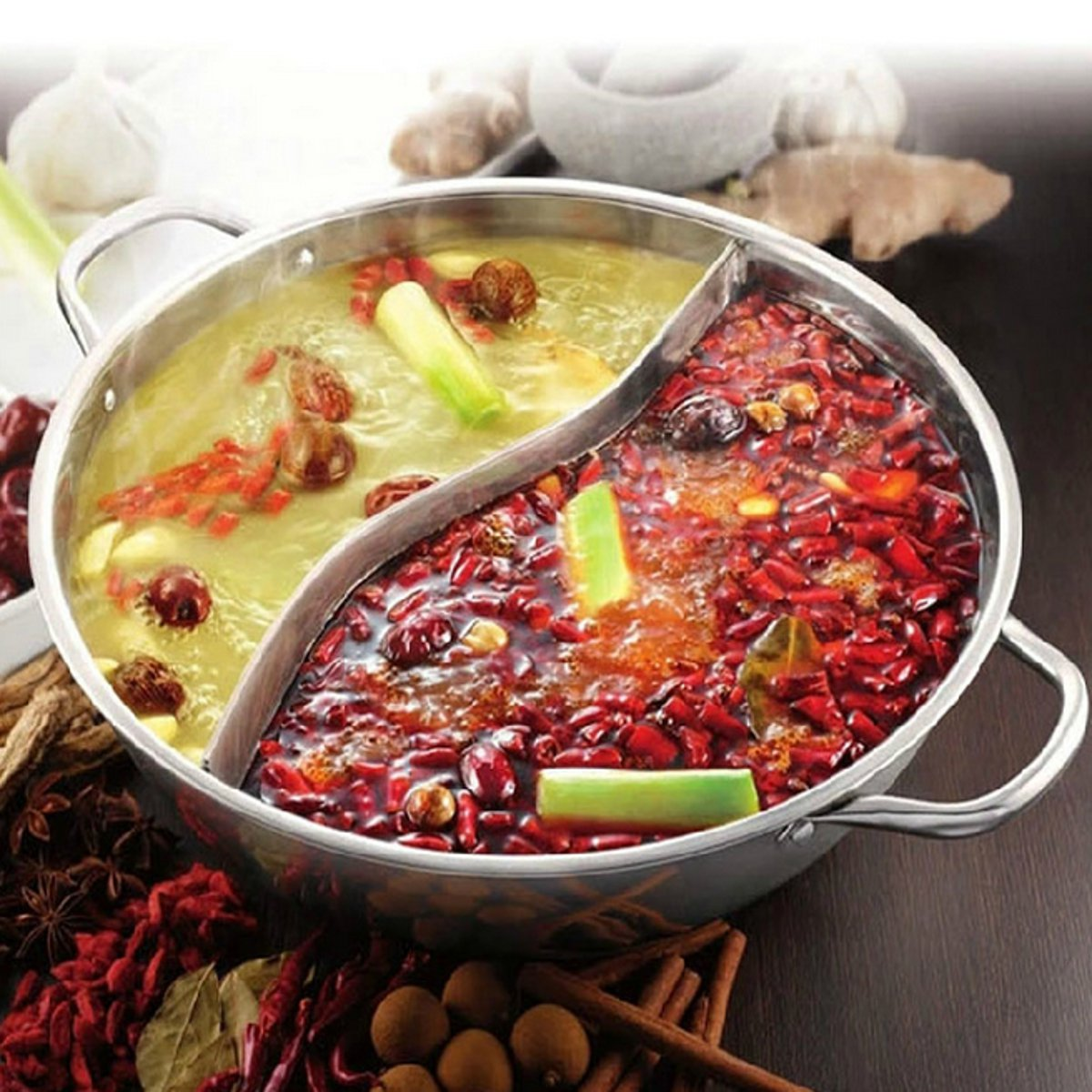 38cm Stainless Steel Twin Divided Hot Pot