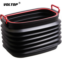 37L Car Stowing Tidying Storage Box Consolidation Folding Trunk Organizer Bucket Telescopic Trash Can with Lid