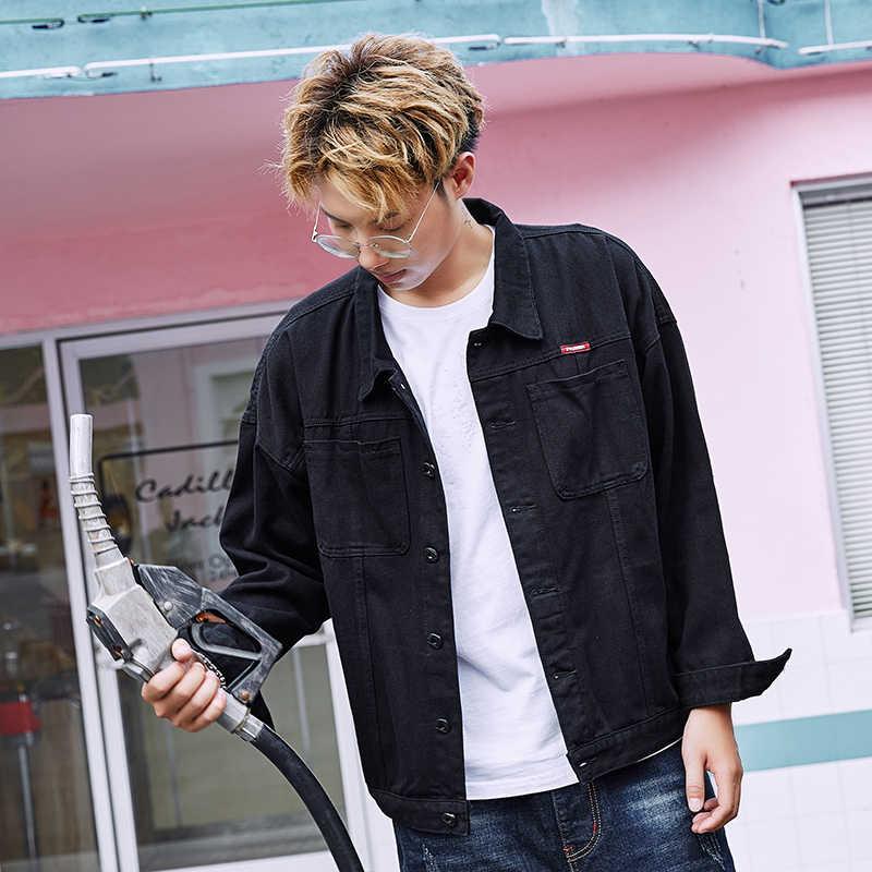 Осенняя черная свободная Мужская джинсовая куртка размера плюс 5XL 6XL 7XL 8XL с рукавом «летучая мышь», модные студенческие толстые куртки в стиле Харадзюку