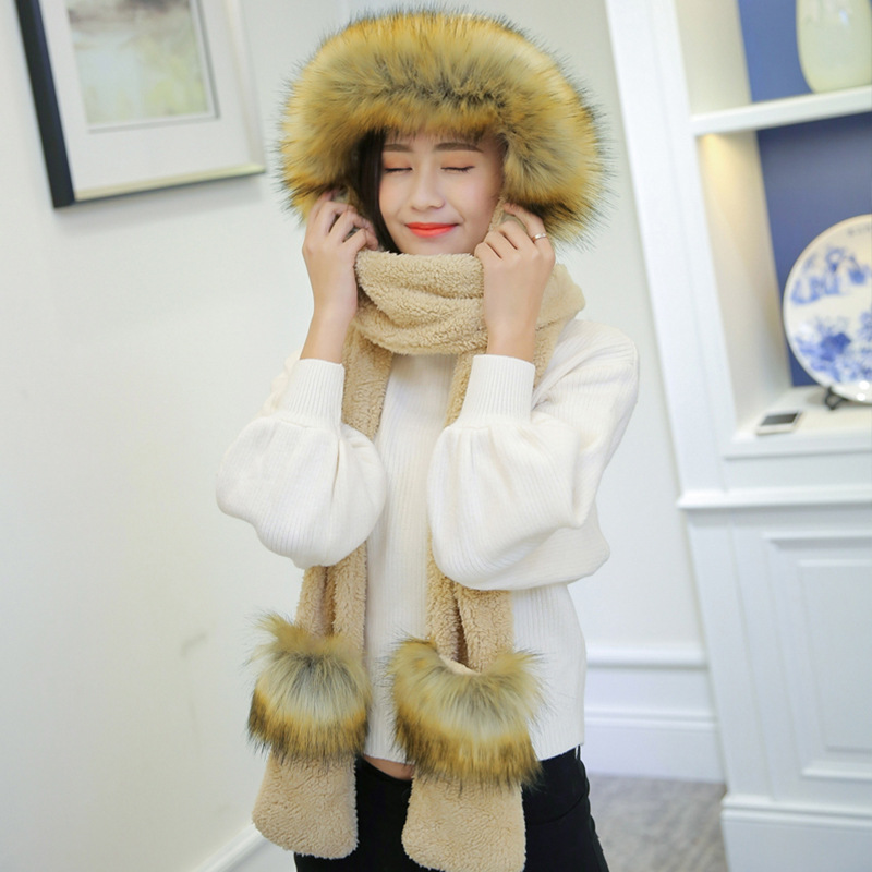 Faux Fox Fur Warm Scarf Hat Ladies Temperament Autumn Winter Korean Style Thicken High Quality One-piece Design Hat Scarf Gloves