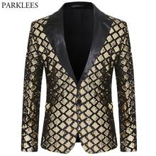 Shiny Gold Diamond Sequins Blazer Men Peak Lapel Mens Suit Jacket Stage Banquet Host Party Club Disco Blazer Masculino Costume