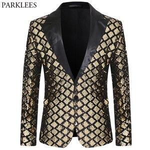Image 1 - Shiny Gold Diamond Sequins Blazer Men Peak Lapel Mens Suit Jacket Stage Banquet Host Party Club Disco Blazer Masculino Costume