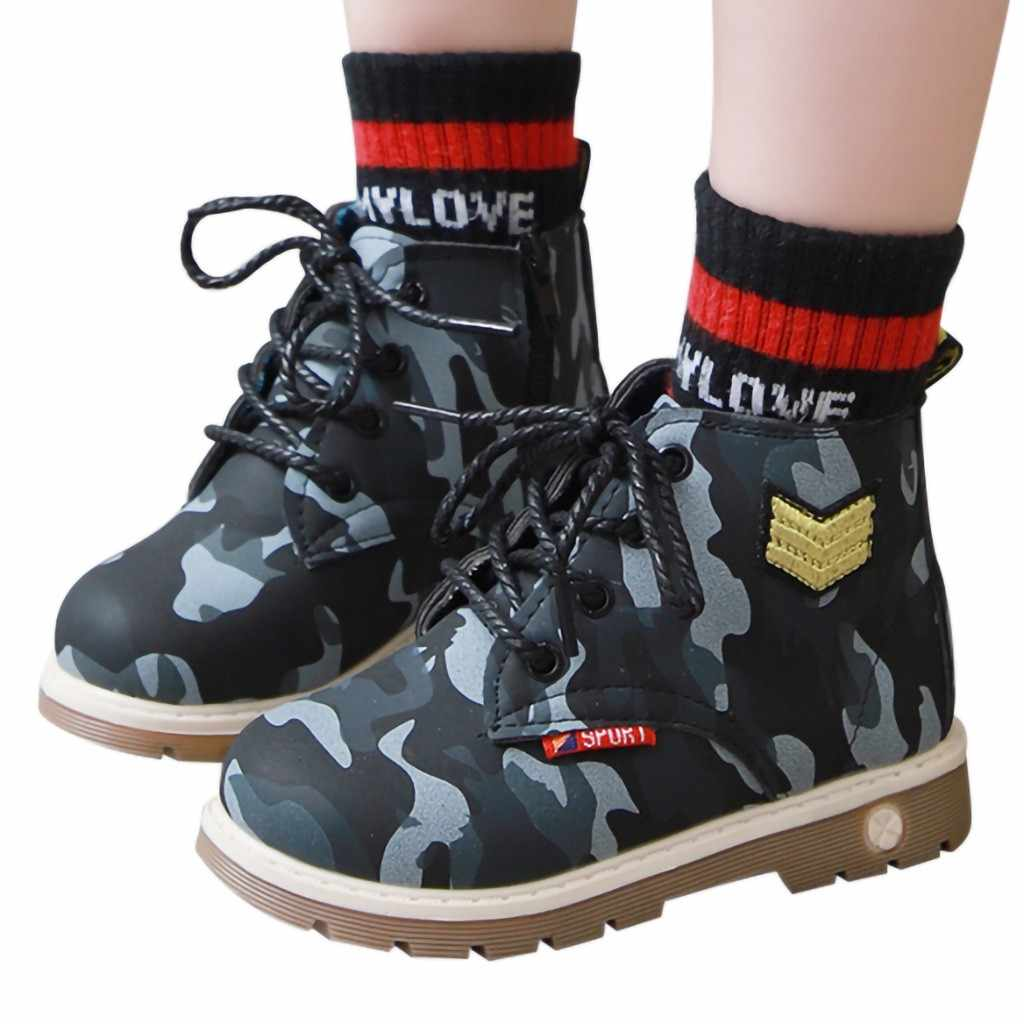 Fashion Girls Shoes 2019 Boots Children Kids Infants Baby Girls Boys Camouflage Print Sport Casual Shoes Boots