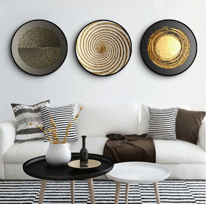 Nordic Black Gold Mural Wall Decoration Living Room Round Wooden Frame Abstract Oil Cloth Painting Wall Hanging Home Decoration
