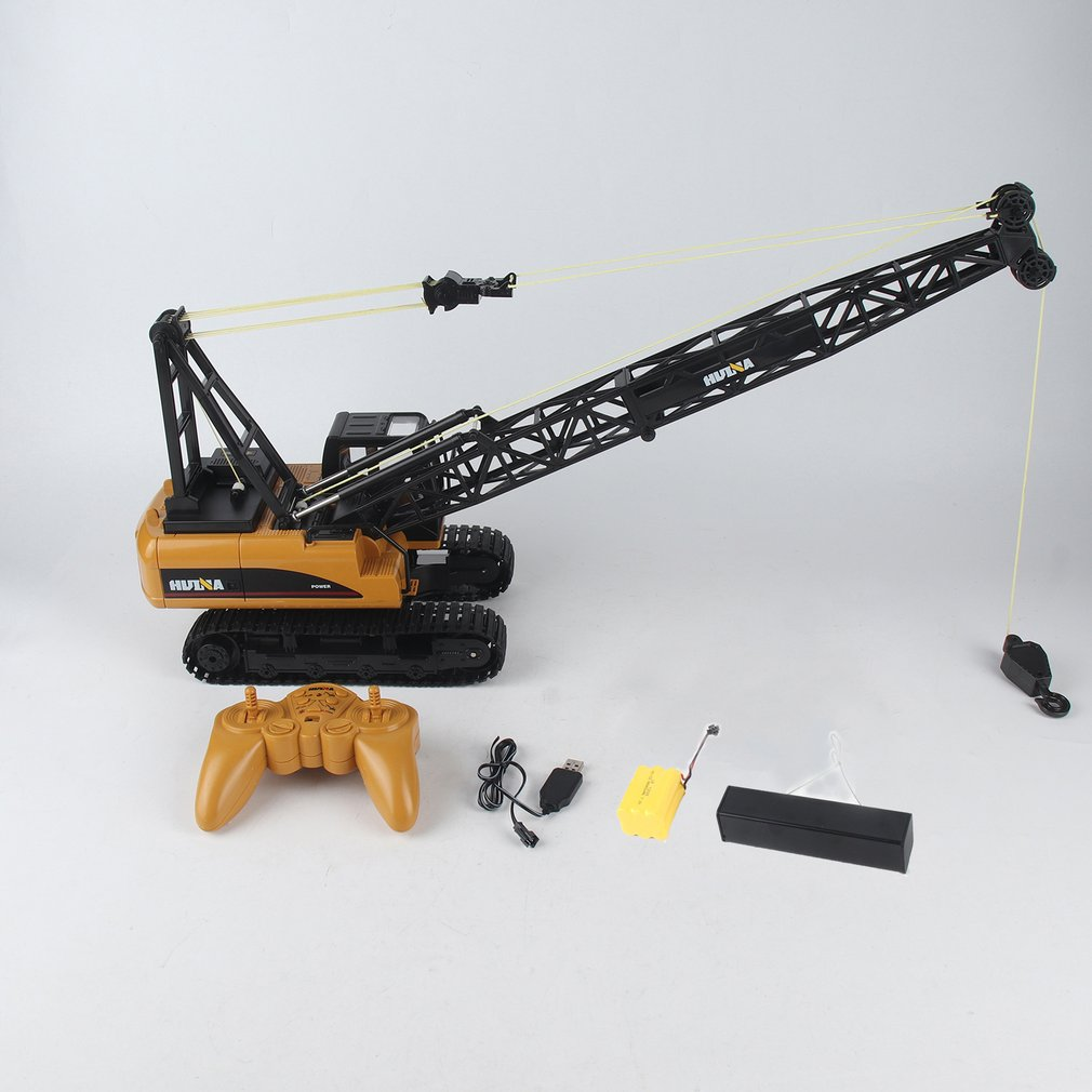 HUINA 1572 15ch RC Alloy Crane 1/14 2.4GHz Engineering Movable Latticed Boom Hook Mechanical Truck Toy Car With Sound Light ti