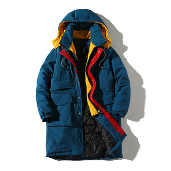 Winter Jacket Men New Casual Patch Color Coat With Hooded Plus Size Long Cotton Parka Fake Two Pieces Jackets For Men