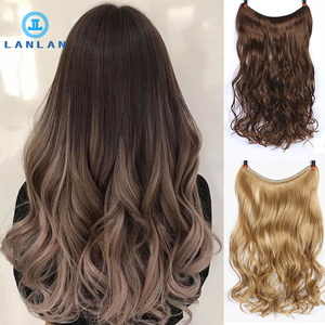 LANLAN women long curly hair big wave one piece natural wig set U-shaped seamless hair extension wig piece cute Headwear(China)