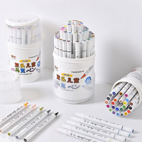 24/36/48 Colors Oil Color Marker Pen for Sketch Craft/Artistic Paint Brush Tip Marker Set Graphic Marker Painting Supplies