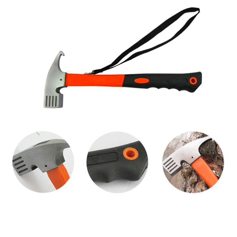 Portable Steel Outdoor Camping Hammer Tent Awning Stake Nail Puller Remover Multifunctional Tool