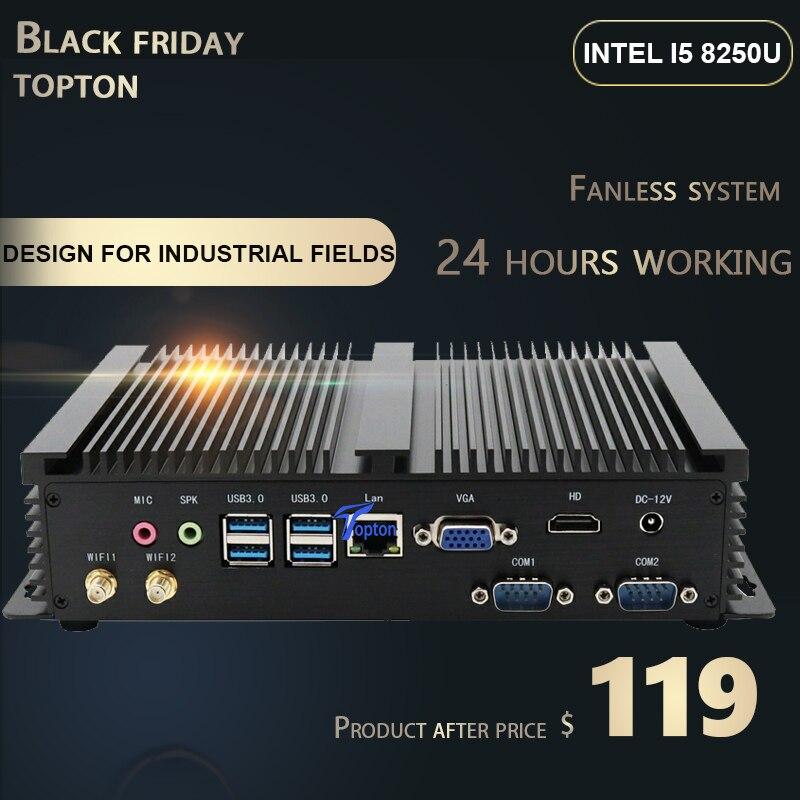 Fanless MINI PC I7 8565U I5 8250U I3 5005U Industrial Computer 24 Hours 2 COM HDMI VGA Dual Display 300M Wifi 4K HD HTPC MINI PC