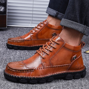 Image 5 - Mens Leather Ankle Boots Lace up Men Shoes High Quality Men Vintage British Military Boots Autumn Winter Plus Size 38 48