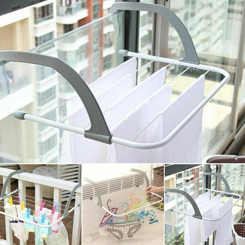 Folding Adjustable Radiator Towel / Clothes Drying Rack Pole Airer Dryer Drying Rack 5 Rail Balcony Telescopic Laundry Holder