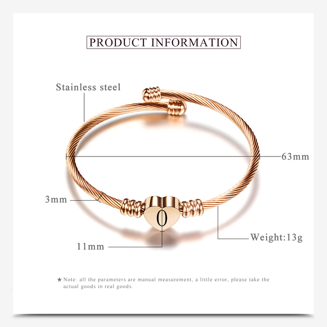 Rose gold Color Stainless Steel Heart Bracelet Bangle With Letter Fashion Initial Alphabet Charms Bracelets For Women 3