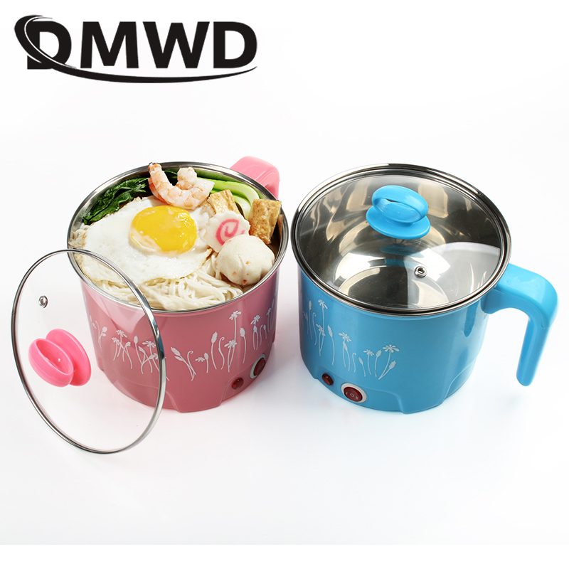 DMWD Multifunction Electric Skillet Stainless Steel Hotpot Noodles Rice Cooker Egg Steamer Soup Cooking Pot MINI Heater Pan 1.5L