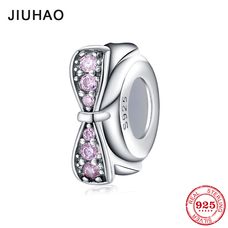 Authentic Spacer Beads Pink Bow Flower Fashion 925 Sterling Silver Beads Fit Original Pandora Bracelet Necklace Jewelry Making