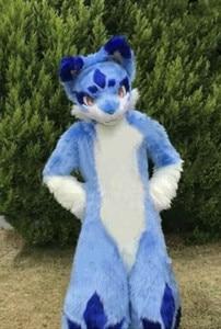 Husky Wolf Dog Fox Mascot Long Fur Costume Fursuit Halloween Suit Cosplay Furry Costume Adult Size Furry Costume