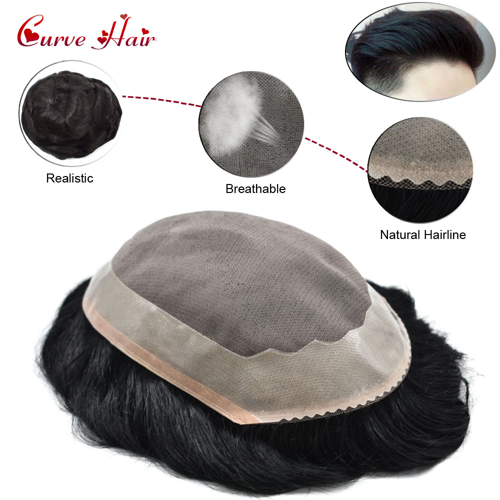 Fine Mono Durable Mens Toupee Poly Coating Remy Hair System Replacement For Men Jet Black