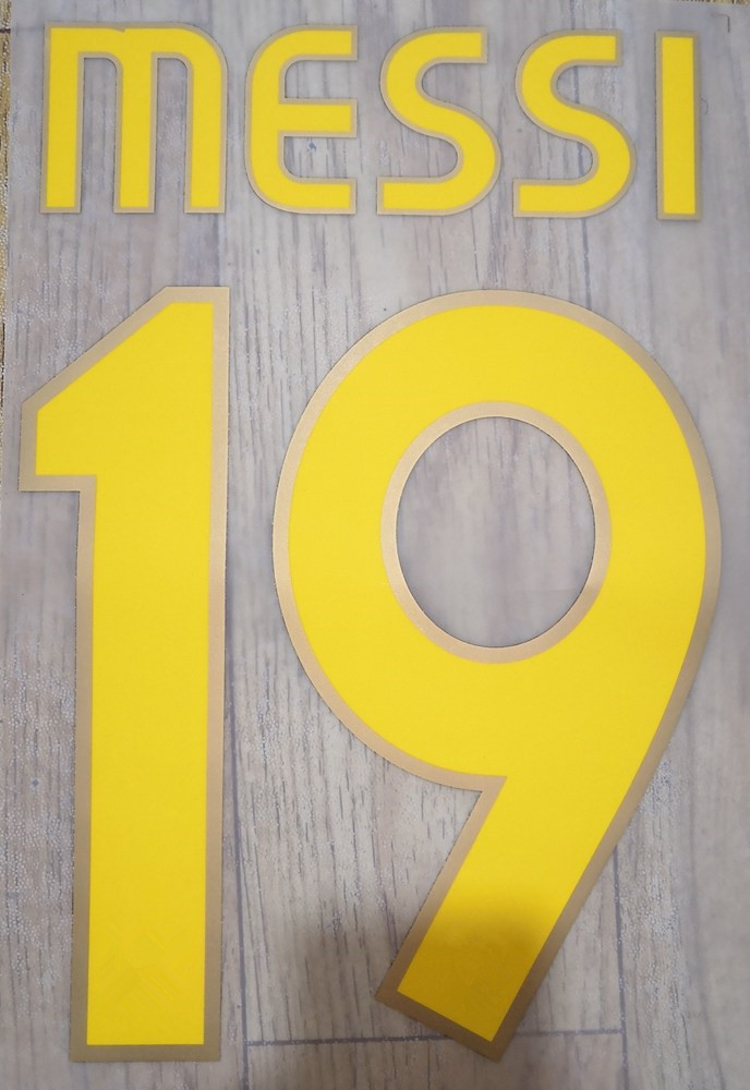 Retro 2006 2007 2008 Messi #19 Printing Nameset Heat Transfer Fonts Printing Hot Stamping Soccer Patch Badges