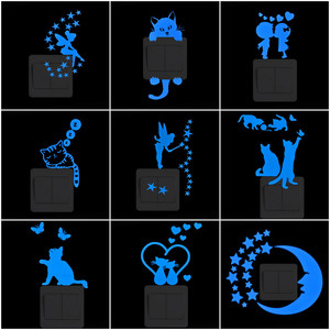 Light Switch Sticker Luminous Wall Stickers Cartoon Glow in the Dark Sticker Decal for Kids Room Decoration Home Decor Cat Fairy
