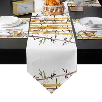 Bambus akwarela malarstwo sztuka z motywem roślinnym bieżnik zestaw podkładek kraj stół weselny dekoracja do kuchni strona główna jadalnia wakacje tanie i dobre opinie CN (pochodzenie) PRINTED wyszywana Do hotelu Poliester Bawełna Drukuj Table Runner LEX09299
