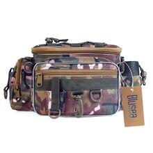 Blusea Portable sac de pêche en plein air unique épaule pêche taille Pack sac pêche leurre moulinet attirail Pesca sac de rangement étanche