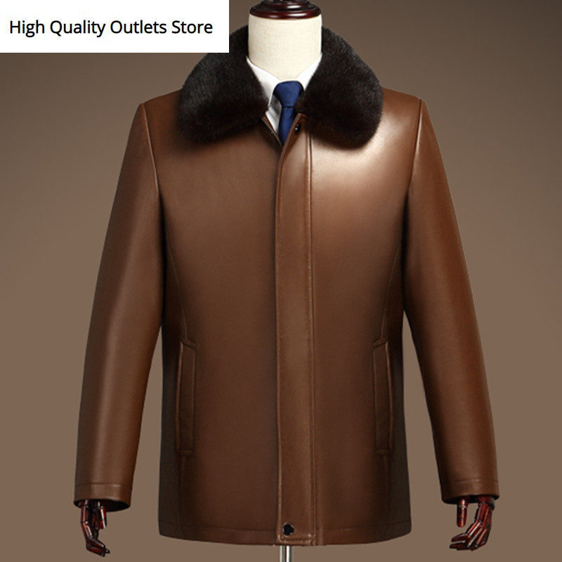 Men Fur Coat Genuine Leather Jacket Outerwear Sheepskin Jackets Coats Mink Fur Liner