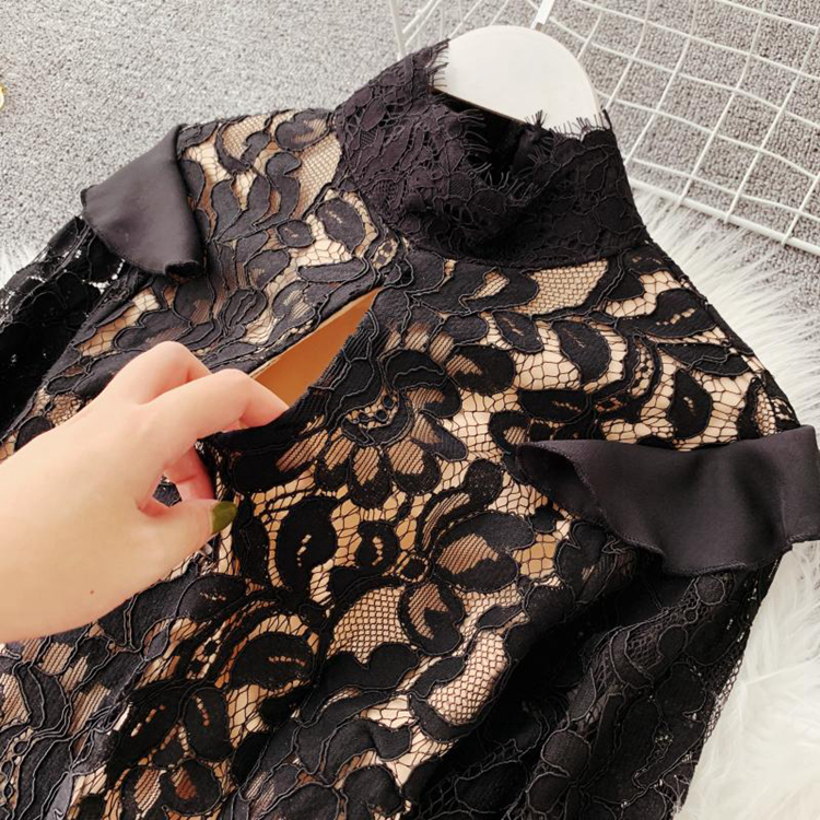 Vintage Bodycon Black Lace Dress 10