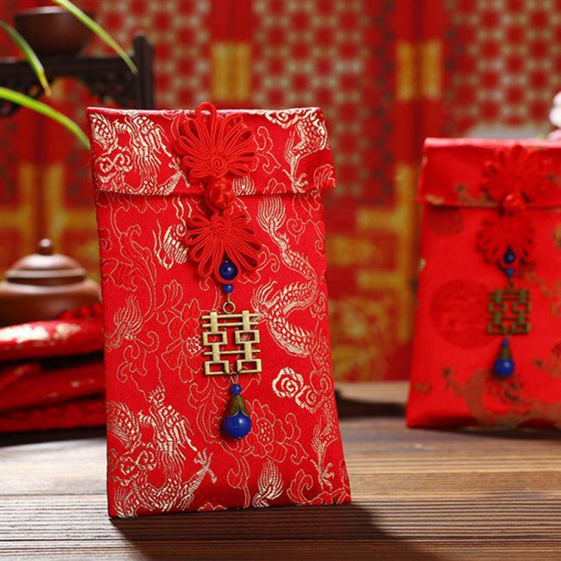 Creative High-end Spring Festival Red Envelope Wedding Red Envelope Large Return Red Envelope Bag Exquisite Fabric Wallet