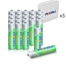 20pcs PKCELL AAA Battery 850mAh 1.2V NI MH AAA Low self discharge 3A Rechargeable batteries and 5pcs battery box holder AA/AAA