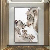 Pintura de la familia del león salvaje para decoración de sala de estar y dormitorio, murales colgantes sin marco