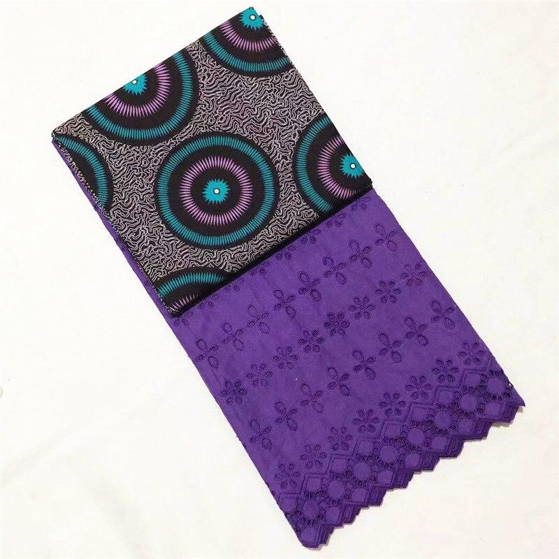 En gros! Tissu de cire hollandaise de cire de coton africain de 3 Yards + 2.5Yards tissu de dentelle de Voile suisse brodé bleu nouveau Design de fleurs - 5