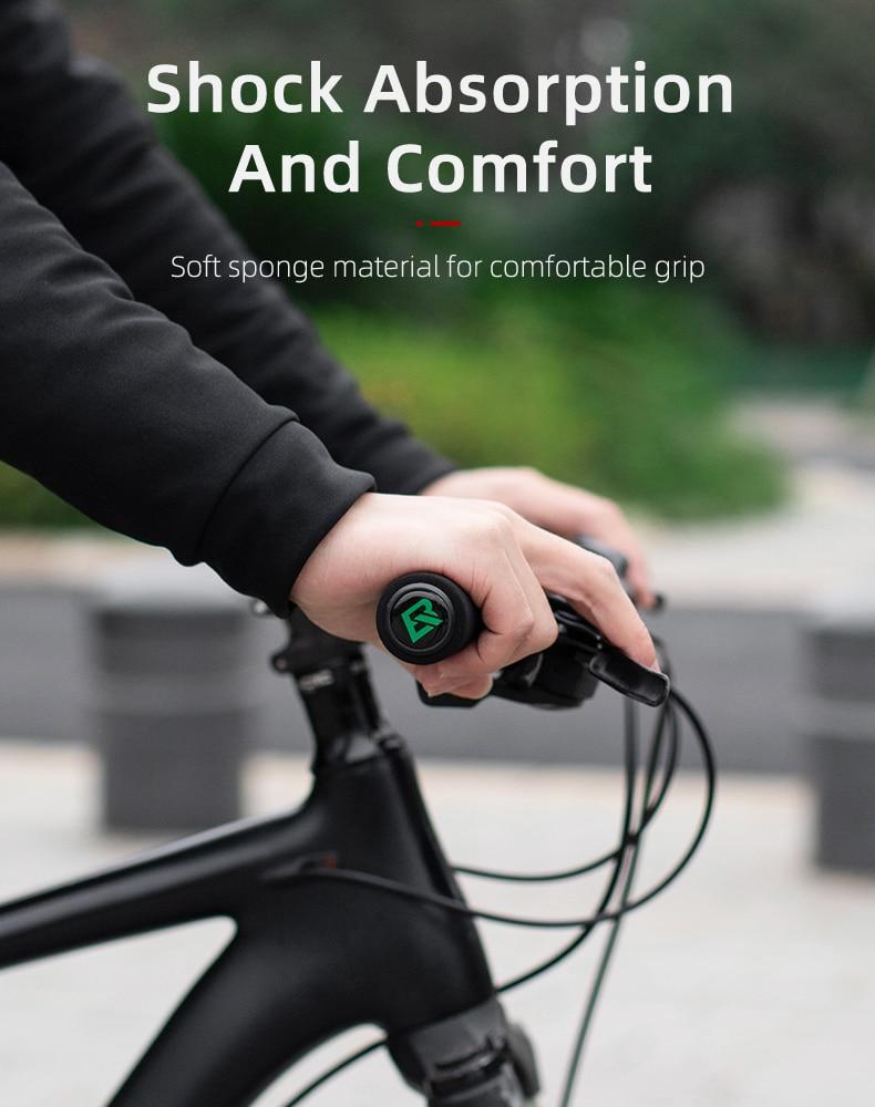 RockBros MTB Mountain Bike Grips Cycling Bicycle Soft Handlebar Grips BLACK//BLAC